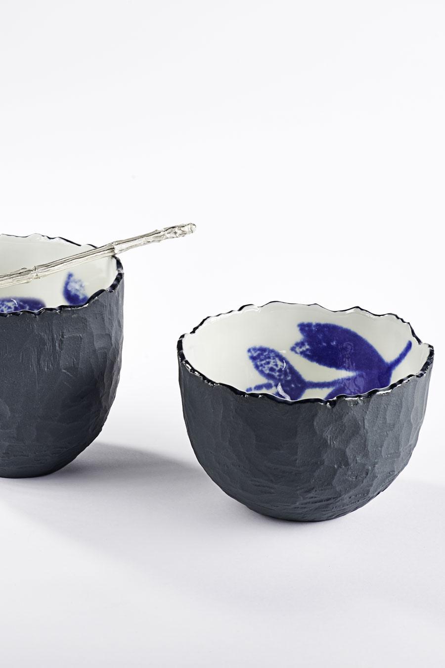 Teeschalen-Set schwarz und weiß Traces