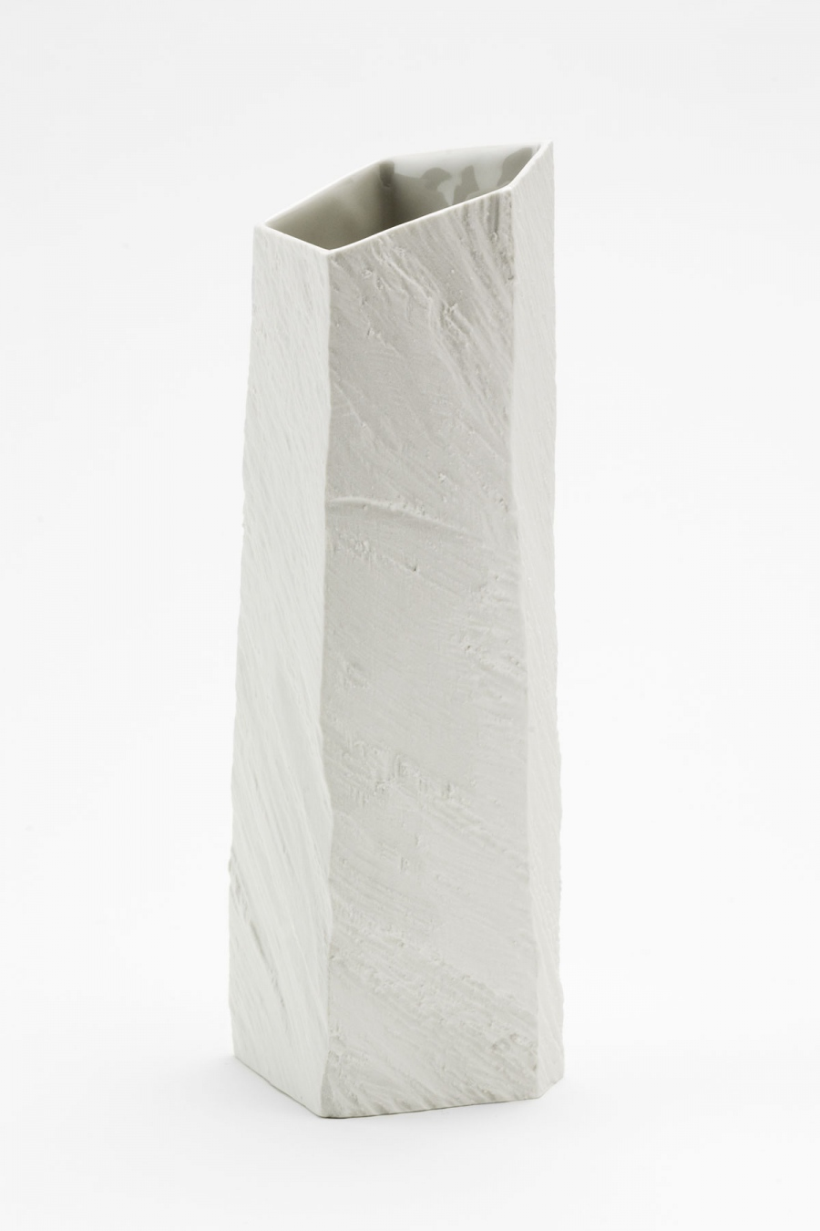 Vase L white raw Woodraw